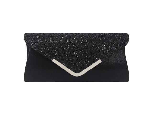 Women Glitter Sparkling Handbag Evening Party Clutch Bag Purse Black (725987340023 Belts & Suspenders) photo