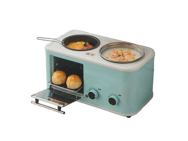 3 in 1 Electric Household Breakfast Machine Bread Toaster Baking Oven Omelette Frying Pan Food Steamer-Light Blue photo