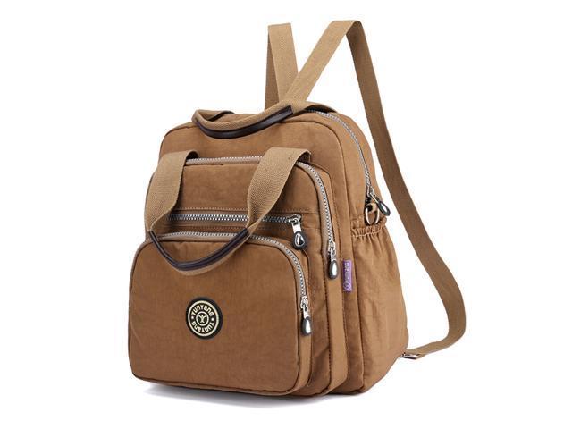 Backpack Fashion Shoulder Bag Multipurpose Nylon Backpack Purse Travel Daypack Casual Schoolbag for Girls Khaki (221775543916 Office Supplies) photo