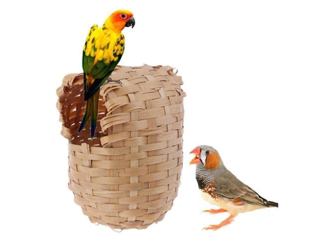 Bird Nest Natural Bamboo Bird House Hand Made Finch Hideout Cage Toy Outdoor Hut Shelter (Electronics) photo