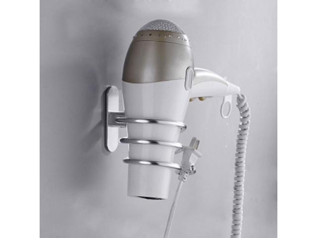 Wall Mounted Hair Dryer Holder Rack Self Adhesive Space Aluminum Bathroom Shelf Storage Stand Nail No Drilling photo