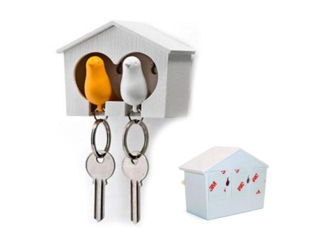 Duo Wood House Sparrow Bird Key Ring + Key Holder + Whistle - White+Yellow Bird (Electronics) photo