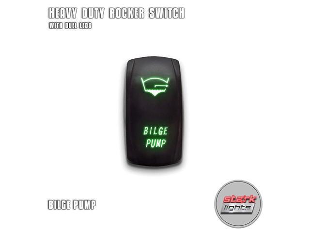 BILGE PUMP - Green - 5-PIN Laser Etched LED Rocker Switch Dual Light - 20A 12V ON/OFF photo