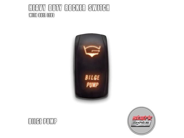 BILGE PUMP - Orange - 5-PIN Laser Etched LED Rocker Switch Dual Light - 20A 12V ON/OFF photo