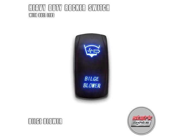 BILGE BLOWER - Blue - 5-PIN Laser Etched LED Rocker Switch Dual Light - 20A 12V ON/OFF photo