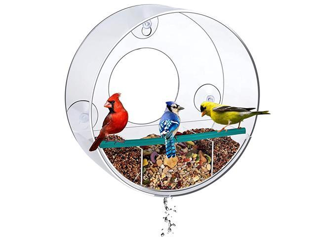 Circular Window Bird Feeder with Strong Suction Cups and Removable Tray Watch Wild Backyard Birds from Your House Clear See Through Large. (Home & Garden Pool & Spa) photo