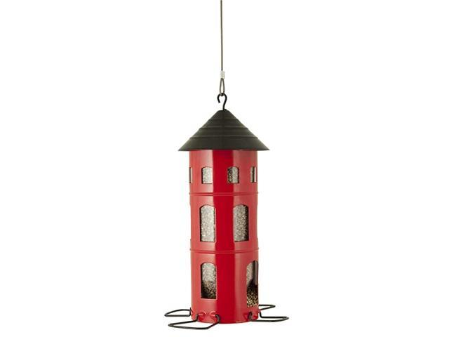 Combi Bird Feeder Dispenses Birdseed Suet Cakes and More Adjustable Perch for Small and Large Birds Weatherproof Swedish Design Red (Home & Garden Pool & Spa) photo