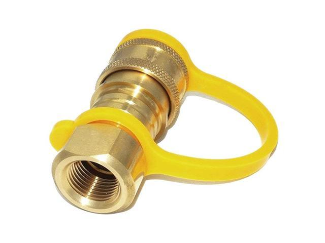 Propane or Natural Gas Quick Connect Brass Fitting Disconnect for Low Pressure Appliance 38quot Female Pipe Thread x 38quot Male Flare Quick. photo