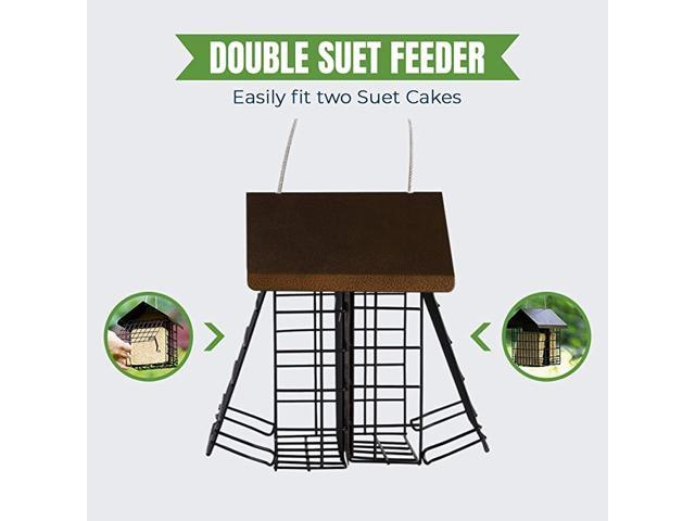 Suet Wild Bird Feeder with Hanging Metal Roof Two Suet Capacity Bird Feed Recommended Double (Home & Garden Pool & Spa) photo