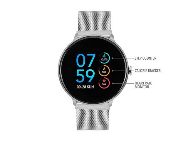 Sport Round Smartwatch with Waterproof Technology Heart Rate Monitor MultiSports Mode Pedometer for Android and iOS Smart Phones Metal Mesh Strap. (Watch Accessories) photo