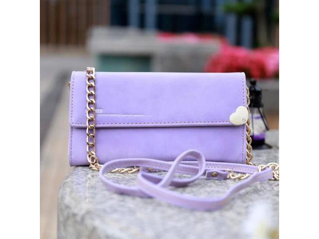 Prettyzys Heart Shape PU Leather Clutch Hardware Chain Wallet Bag Purse Case For iPhone 7 Samsung Purple (417974084644 Wallets & Keyholders) photo