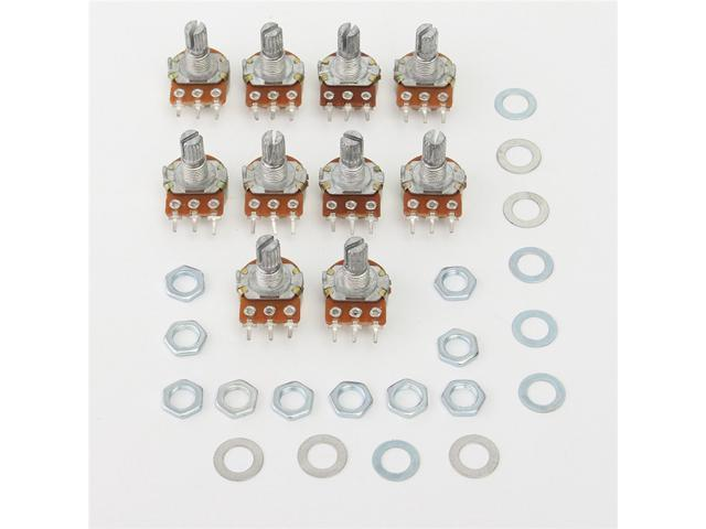 50PCS WH148 B100K Linear Potentiometer 15mm Shaft With Nuts And Washers