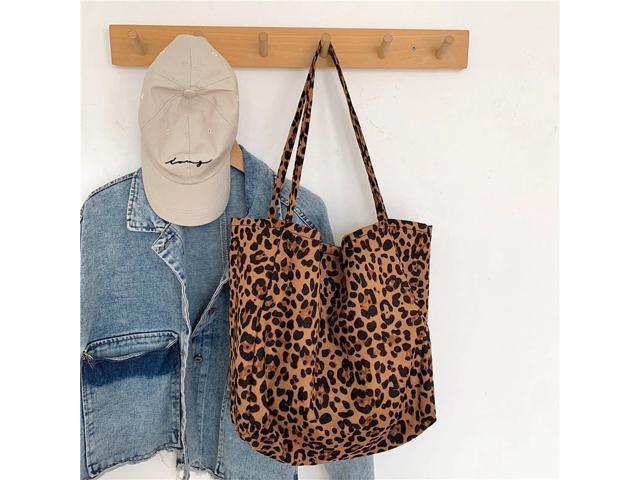 Tote Bag Women Canvas Leopard Handbag 2020Trendy Handle Bag Large Capacity Shoulder Bag Female Shopping GIrls Purse (Luggage & Bags) photo
