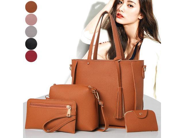 4Pcs/Set Fashion Women Messenger Bags Zipped Tassels Leather Solid Color Handbag Ladies Girls Purse Shoulder Bag CNT 66 (Luggage & Bags) photo