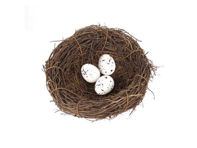 Bird Nest Crafts with 3 Bird Eggs Handmade Easter Rattan Bird House Home Decoration Wedding Show Window Ornament Garden Yard (791779491433 Arts & Entertainment Arts & Crafts) photo