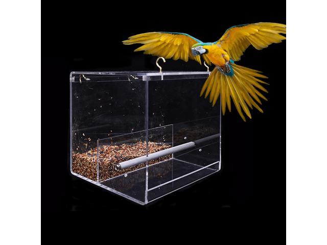 Hanging Bird Feeder for Cage Bird Feeder House Bird Feed Box Hanging Parrot Food Feeder Container Outdoor Feeding Birdfeeders Acrylic Perch Cage. (791779211635 Motor Vehicle Parts) photo