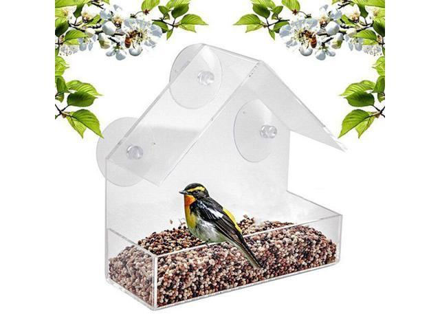 Bird Feeder Window Parrot Food Feeder Bird Feed Box Outdoor Birdfeeders Waterproof Acrylic House Shaped Bird Feeding Device with 4 Suction Cups (791779211543 Motor Vehicle Parts) photo