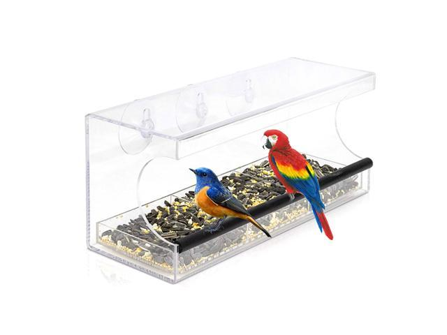 Clear Acrylic Window Bird Feeder with 3 Suction Cups & Drain Holes High Feed Capacity Outside Birdhouse for Close Up View Outdoors Wild Birds (791779211512 Motor Vehicle Parts) photo