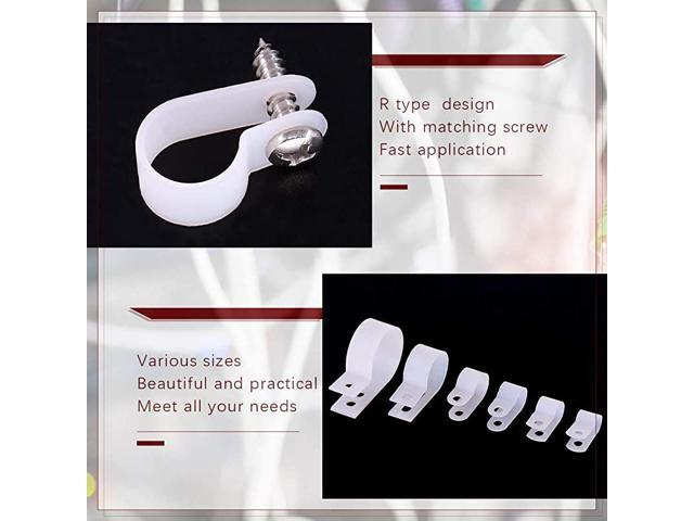 Clips from 6mm to 23mm Hilitchi 135 Pcs 6 Sizes White Plastic Cable Clamp R Type Screw Mounting Cord Fastener Cable Clips Assortment Kit with Screws for Wire Management Cable Conduit