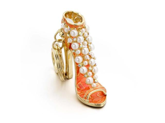 High Heel Rhinestone Keychain Car Keyring Purse Bag Pendant Decoration Hanging Ornament Creative Gift (Golden and Orange) (Office Supplies Easels) photo