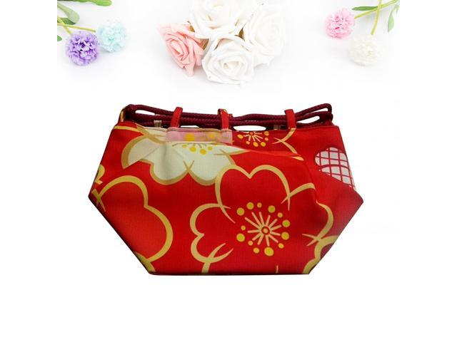 Japanese Style Handbag Portable Lightweight Cherry Patterned Drawstring Pouch Coin Cosmetic Purse (Red) (Home & Garden Bathroom Accessories) photo