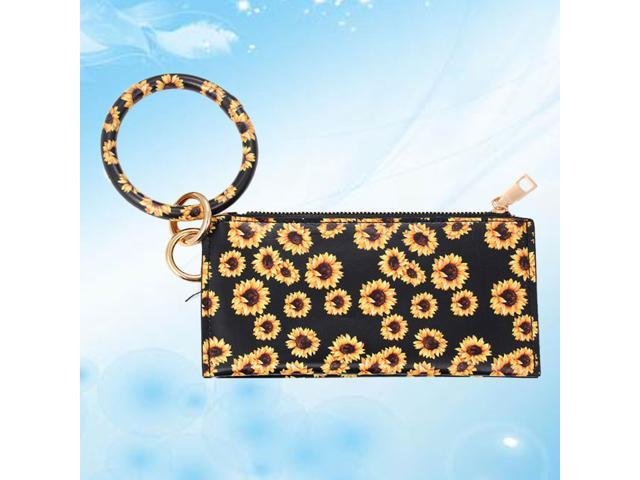 PU Leather Bag Key Chain Wallet Portable Bag Fashion Purse Delicate Zipper Purse Durable Hand Bag for Woman Girl Lady (Yellow Sunflower) (Luggage & Bags) photo
