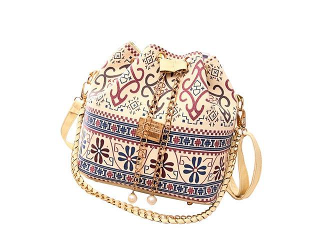 Drawstring Bucket Bag Handbags Classic Shoulder Bag Purses Crossbody Bags for Women with Pumping Belt (Ethnic Style) (Luggage & Bags) photo