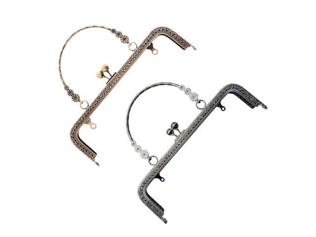 20cm Retro Metal Flower Purse Bag DIY Craft Frame Kiss Clasp Lock Purse Accessories (Gold) (Sporting Goods Outdoor Recreation Cycling Bicycle Accessories) photo