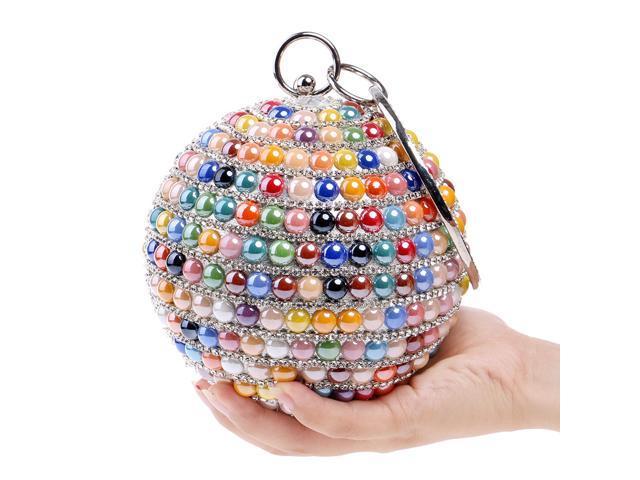Beaded Evening Bag Party Clutch Round Shape Women's Handbag Wedding Purse (Multicolor) (Luggage & Bags) photo