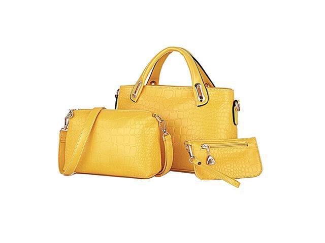 3pcs Classic Leisure Women Handbag Shoulder Bags Tote Purse Leather Ladies Messenger Hobo Bag (Black) (Luggage & Bags) photo
