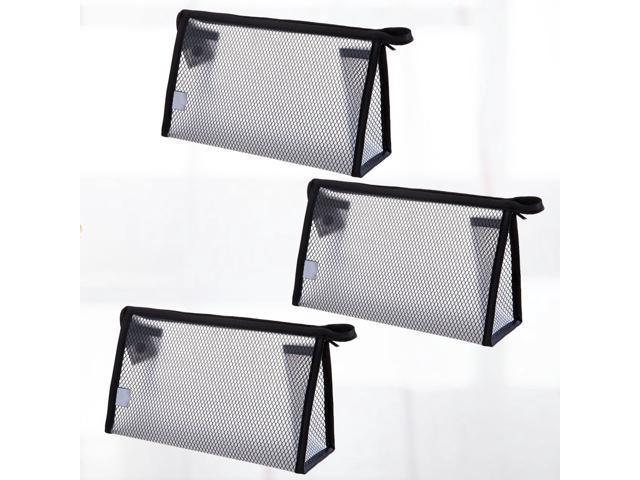 3 Pcs Semi-transparent Cosmetic Storage Bag Waterproof Clutch Bag Cosmetic Handbag Zipper Purse Dinner Party for Ladies Girls (Black) (Luggage & Bags) photo