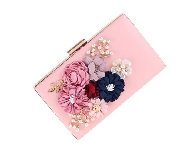 Women's Handbag Sweet Flowers And Pearls Design Evening Wallet Case Bag Wedding Purse (White) (Electronics Computer Components Laptop Parts) photo