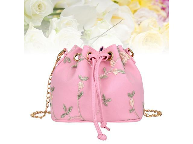 Fashion Flowers Lace Embroidery Drawstring Bucket Bag Shoulder Bag Purse (White) (Luggage & Bags) photo