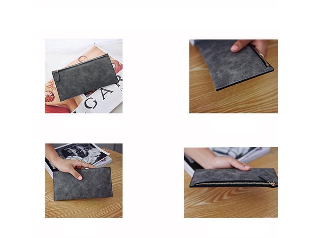 Matte Simple Women Wallet Girls Ladies Long Design Zipper PU Leather Wallet Coin Purse (Light Gray) (Wallets & Keyholders) photo