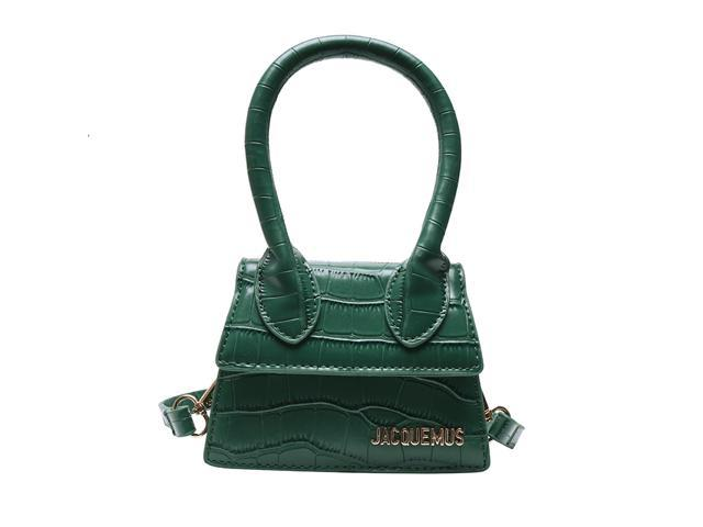 jacquemus luxury brand PU leather crossbody bags for women 2021 famous designer purses and handbags mini shoulder bags(Green) (726312913653 Luggage & Bags) photo