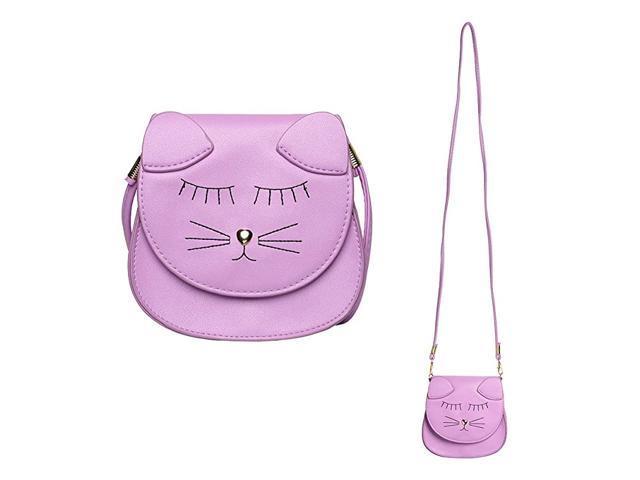 Little Girls Purse Cute Cat Coin Purse Shoulder Bag Handbag Girls Gift Purple (Baby & Toddler) photo