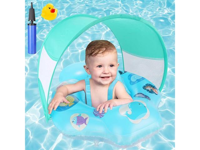 Baby Swimming Float, Inflatable Pool Float with Removable Sun Protection...