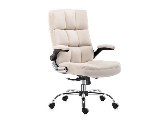 YAMASORO Comfortable Ergonomic Office Chair Fabric Velvet Desk Chair with Wheels High-Back Executive Computer Chairs with Flip-Up Arms, Adjustable. (Furniture) photo