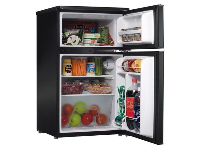 Amana 3.1-Cu. Ft. Energy Star Dual-Door Mini Refrigerator with Top-Mount Freezer Black with Stainless - Look Door AMAR31TS1E photo