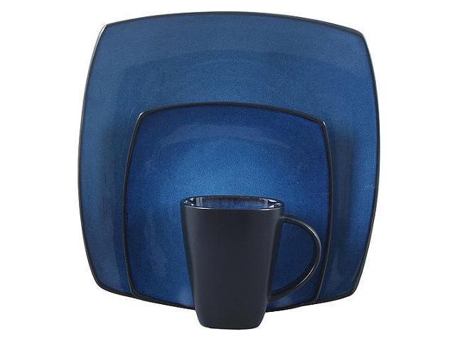 Gibson Home Soho Lounge Square 16-Piece Dinnerware Set Blue photo