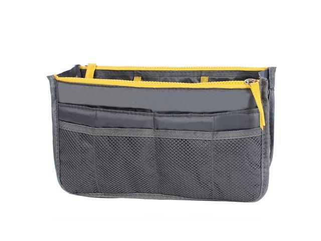 Unique Bargains Zipper Women Cosmetic Bag Purse Portable Multi Pocket Organizer Storage Handbag Gray (601382754989 Home & Garden Household Supplies) photo