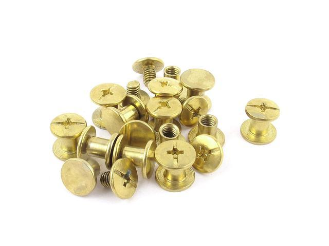 Unique Bargains 15pcs 5mmx6mm Brass Plated Binding Chicago Screw Post for Leather Purse Belt (601382398053 Hardware Hardware Accessories) photo