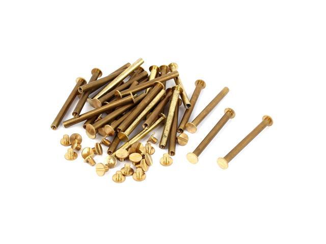 Unique Bargains Purse Belts Scrapbooks Brass Knurled Binding Chicago Screws M5 x 50mm 30 Pcs (602451807643 Hardware Hardware Accessories) photo