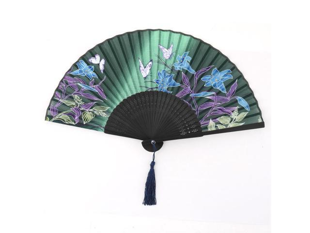 Party Ball Dancing Bamboo Frame Flower Pattern Vintage Pocket Purse Folding Fan (709874615227 Home & Garden Household Appliances Fans) photo