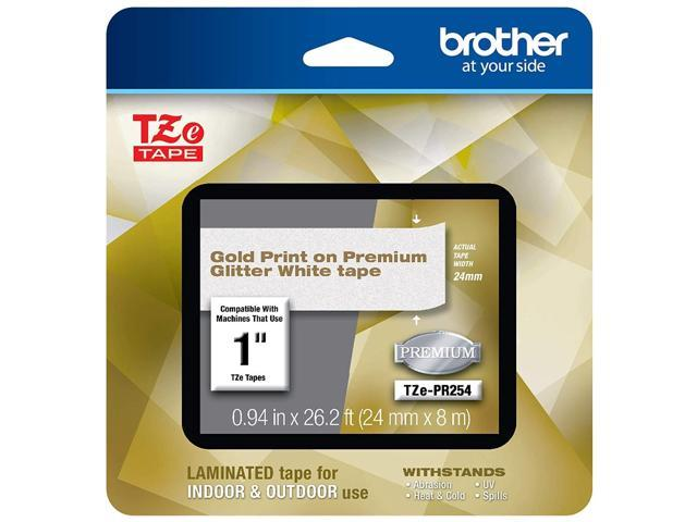 Brother TZePR254 Gold Print on Premium Glitter White Laminated Tape for P-touch Label Maker, 24 mm (0.94') Wide x 8 m (26.20 ft.) Long photo