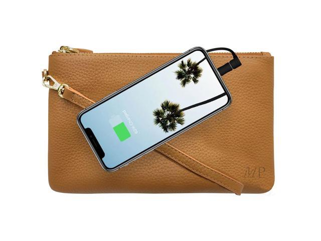 Mighty Purse Wristlet with Built-In Phone Charger, Genuine Leather, Almond Brown (09342015003555 Electronics Communications Telephony Mobile Phone Cases) photo
