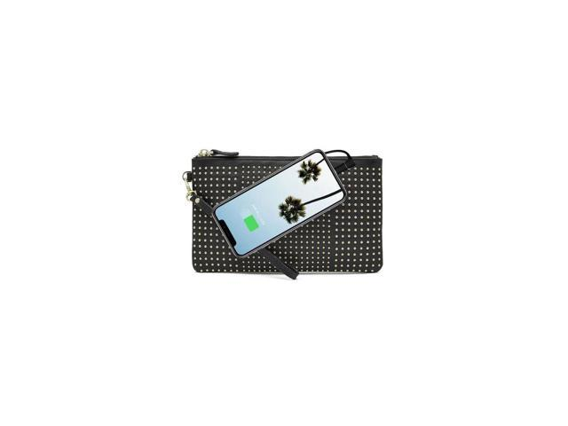 Mighty Purse Wristlet with Built-In Phone Charger, Black with Small Gold Studs (09342015003852 Electronics Communications Telephony Mobile Phone Cases) photo