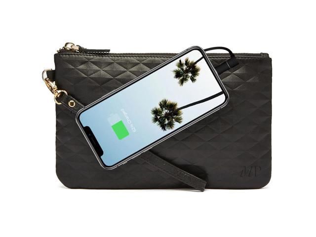 Mighty Purse Wristlet with Built-In Phone Charger, Genuine Leather, Diamond Black (09342015003845 Electronics Communications Telephony Mobile Phone Cases) photo