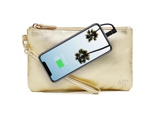 Mighty Purse Wristlet with Built-In Phone Charger, Genuine Leather, Gold Shimmer (09342015003630 Electronics Communications Telephony Mobile Phone Cases) photo