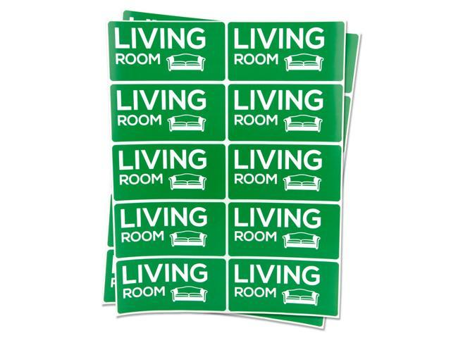 LIVING ROOM Stickers Home Apartment Housing Moving Box Sale Labels (2' x 4',4PK) (998380920318 Office Supplies Labels & Tags) photo